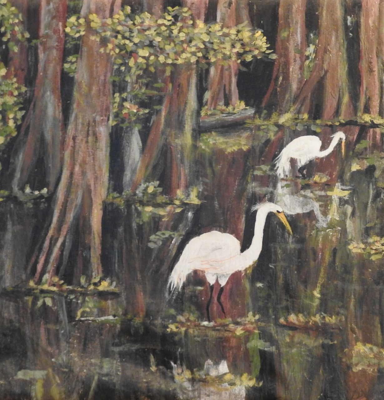 Egrets in a Cypress Swamp painted in Lexington, Ky